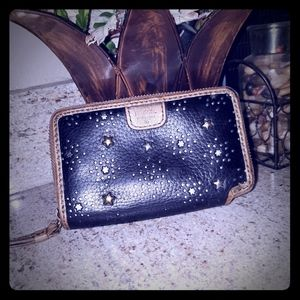 Fossil black gold leather sparkle star zip wallet